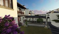 别墅庭院内庭设计效果图 JPG