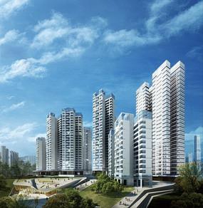 高层住宅区效果图