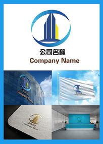 建筑元素环形房地产公司logo
