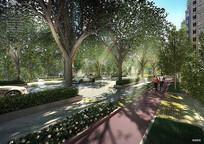 街道绿化景观效果图
