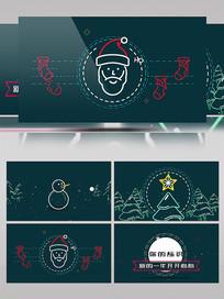 卡通圣诞节AE片头模板