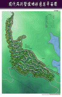 现代风别墅坡地彩色总平面图