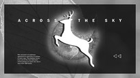 小鹿黑白剪影动物海报PSD