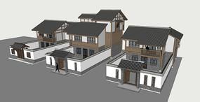 西南民居联排别墅SU模型