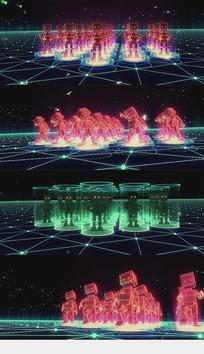 机器人舞蹈大屏背景视频素材