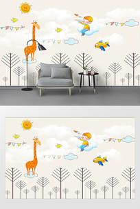 卡通动物田园水彩背景墙