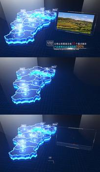 蓝色科技河北地图区域AE模板
