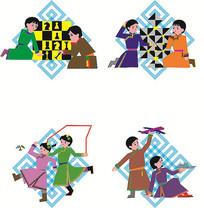 蒙古人物装饰画cdr格式