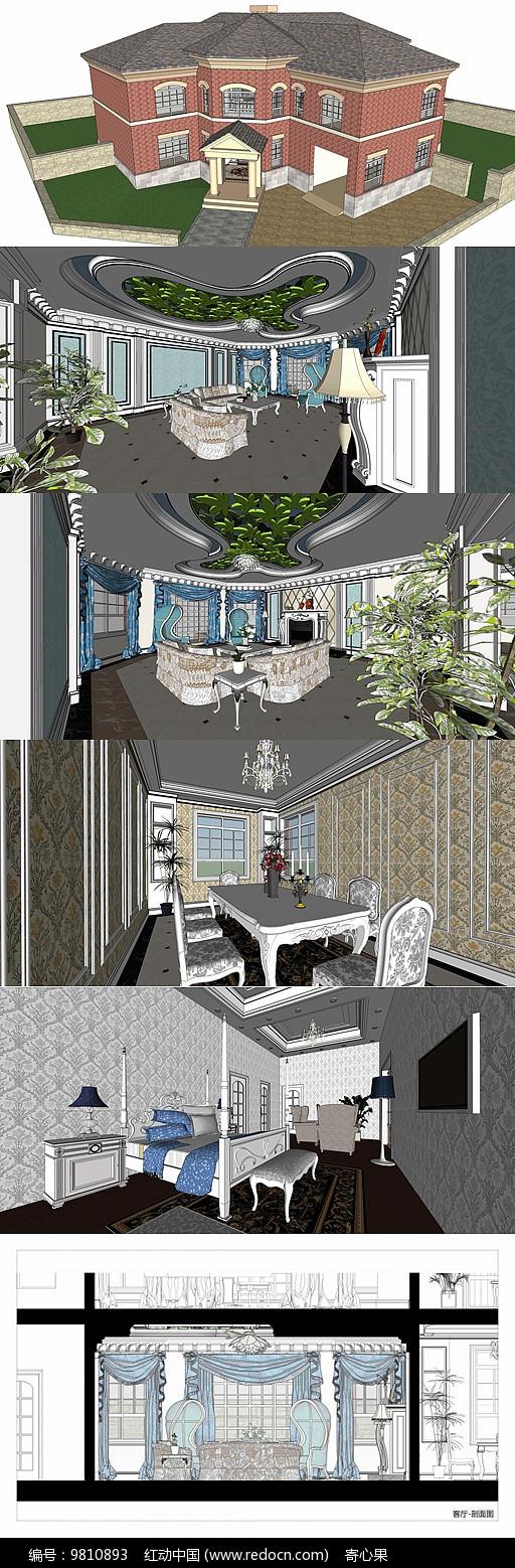 欧式别墅样板房室内外SU模型图片