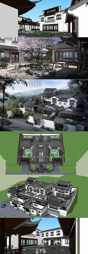 双拼中式别墅SU模型