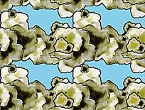 蓝色底绿色花卉对称纹样背景图案素材JIG
