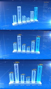 蓝色科技统计柱状图AE模板