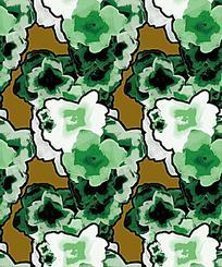 绿色系花卉反复纹样背景图案素材JIG
