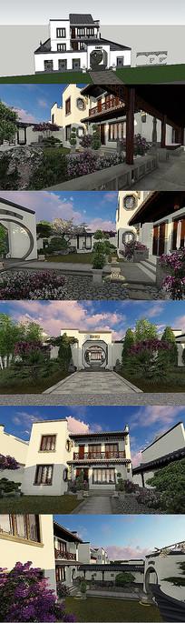 别墅庭院设计SU模型