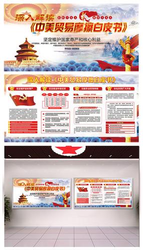 解读中美贸易摩擦白皮书宣传栏 PSD