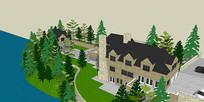 山地豪宅英式建筑SU模型