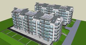 小区住宅建筑SU模型