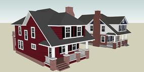 英式窄批住宅建筑SU模型