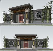 中式风格院子门头SU模型