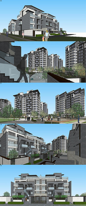 中式联排高层建筑SU模型