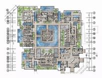典雅中式酒店3层SPA区彩平