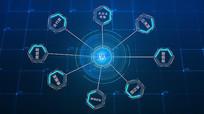 蓝色科技区域链电线AE模板