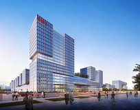 现代办公建筑透视图 JPG