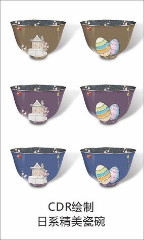 日系小清新精美陶瓷碗手绘插画