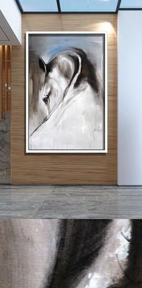 抽象黑白骏马装饰画