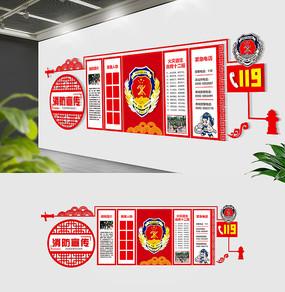 大型红色消防队文化墙