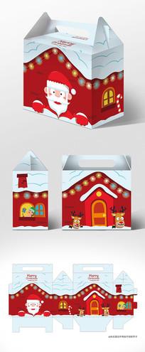 红色卡通房子圣诞节礼盒包装