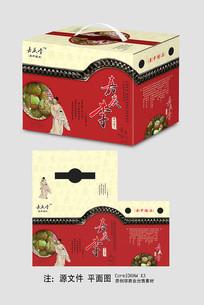 红色中国风李子包装盒