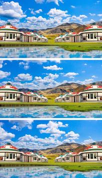 内蒙古大草原蒙古包蓝天白云视频素材