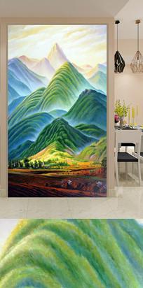 绿色田园大山装饰画