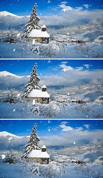 唯美冬季景色雪中的小房子雪花视频