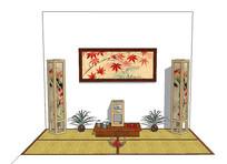日式背景墙场景