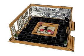 日式茶室场景模型
