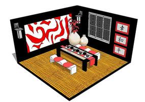 日式茶室室内场景