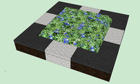 双色方形树池SU模型 skp