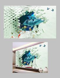 创意3D海底世界电视背景墙