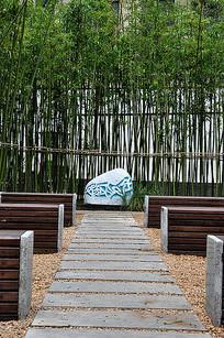 公园小竹林休闲木质座椅 JPG