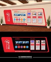 红色大气企业文化墙展板