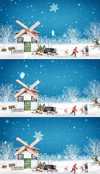 卡通可爱背景冬天背景视频