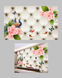 玫瑰花软包电视背景墙