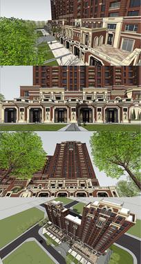 欧式商住建筑景观SU模型