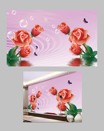 温馨玫瑰花倒影电视背景墙