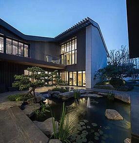 现代别墅建筑庭院池塘景观