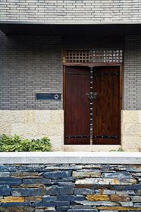 现代中式砖墙大门入口景观