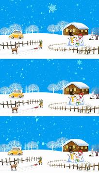雪花小房子唯美冬天场景背景视频