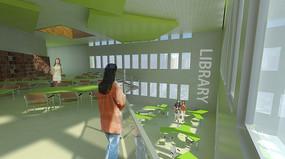 学校图书馆室内效果